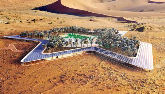 Un hôtel vert autour d'une oasis dans le désert