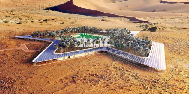 Un hôtel vert autour d'une oasis dans le désert des Emirats arabes unis