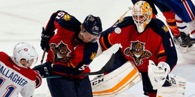 SUNRISE, FL - APRIL 2: Goaltender Roberto Luongo #1 of the Florida Panthers defends the net against the...