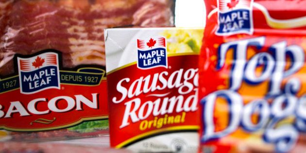 Various Maple Leaf Foods Inc. products are arranged for a photograph in Toronto, Ontario, Canada, on...