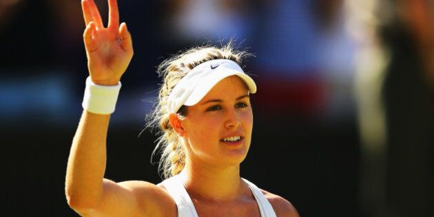 LONDON, ENGLAND - JULY 03: Eugenie Bouchard of Canada celebrates after winning her Ladies' Singles semi-final...