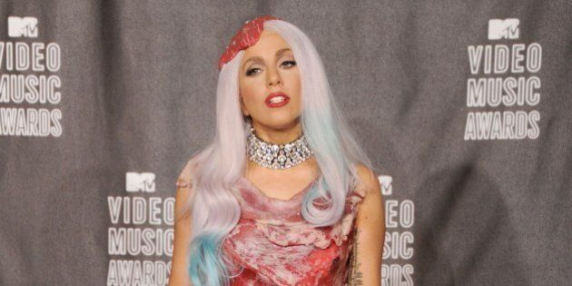 LOS ANGELES, CA - SEPTEMBER 12: Lady Gaga poses in the press room at the 2010 MTV Video Music Awards...