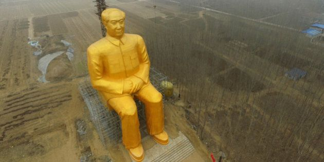TONGXU, CHINA - JANUARY 04: (CHINA OUT) A huge statue of Chairman Mao Zedong, 36.6 meters in height,...