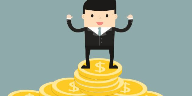 Business situation. Businessman standing on a pile of coins. The symbol of high profits and a successful business. Vector illustration.