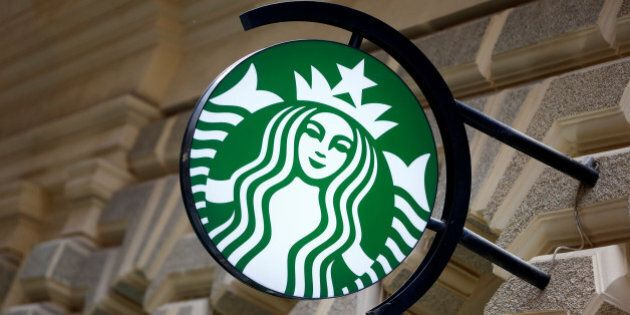 A Starbucks logo is seen at a Starbucks coffee shop in Vienna, Austria, June 21, 2016.    REUTERS/Leonhard Foeger