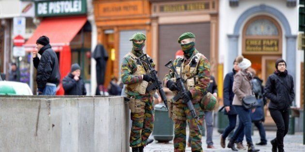 BRUSSELS, BELGIUM - DECEMBER 29: Security forces of Belgium stand guard as two people arrested on suspicion...