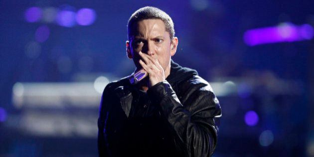 Eminem performs at the BET Awards on Sunday, June 27, 2010 in Los Angeles. (AP Photo/Matt