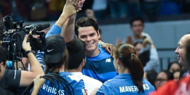 MANILA, PHILIPPINES - DECEMBER 08: Canadian player Milos Raonic celebrates victory against Spains Rafael...