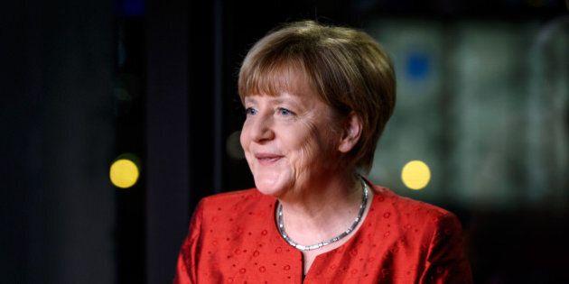BERLIN, GERMANY - DECEMBER 30: German Chancellor Angela Merkel records her televised new year's address...