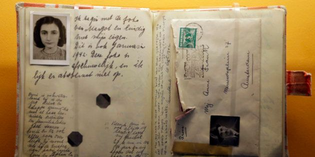 In this Monday, March 18, 2013 photo, a replica of the Anne Frank Diary is displayed at the Indianapolis...
