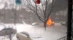 Une déneigeuse a pris feu dans les rues de Notre-Dâme-de-Grâce, à