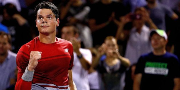 KEY BISCAYNE, FL - MARCH 28: Milos Raonic of Canada celebrates winning a match against Jack Sock during...