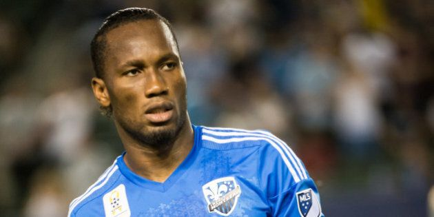 CARSON, CA - SEPTEMBER 12: Didier Drogba #11 of Montreal Impact prior to Los Angeles Galaxy's MLS match...