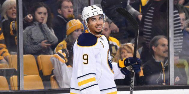 BOSTON, MA - DECEMBER 26 : Evander Kane #9 of the Buffalo Sabres celebrates a goal against the Boston...