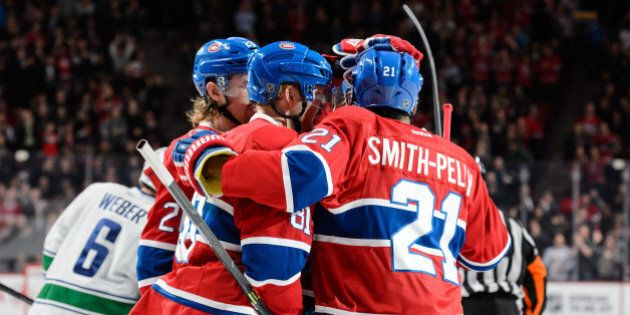 MONTREAL, QC - NOVEMBER 16: Lars Eller #81 of the Montreal Canadiens celebrates a shorthanded goal with...