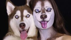 Ilana Kolihnov, artiste maquilleuse géniale, se transforme en chien husky: hallucinant!