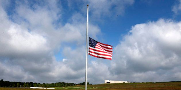 A flag flies at half staff at the Flight 93 National Memorial in Shanksville, Pa, Friday, Sept. 11, 2015,...