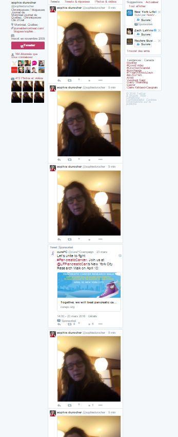 Le compte de Sophie Durocher «piraté» (par son fils): la même photo y a été publiée plus de 160