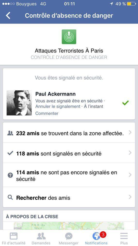 Attentats de Paris: un dispositif sur Facebook pour voir si vos contacts sont en