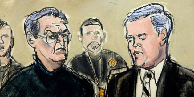 In this Jan. 23, 3014 courtroom drawing, Vincent Asaro, left, is joined by his attorney, Gerald McMahon,...