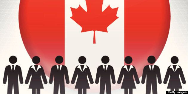 Canada Flag Button with Business Concept Stick