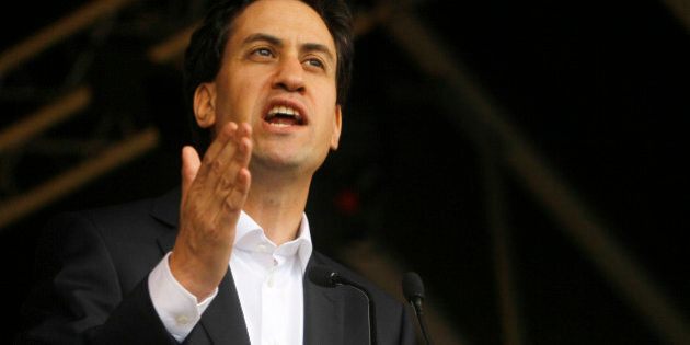 Leader of the British opposition Labour Party Ed Miliband speaks to demonstrators at a rally in Hyde...