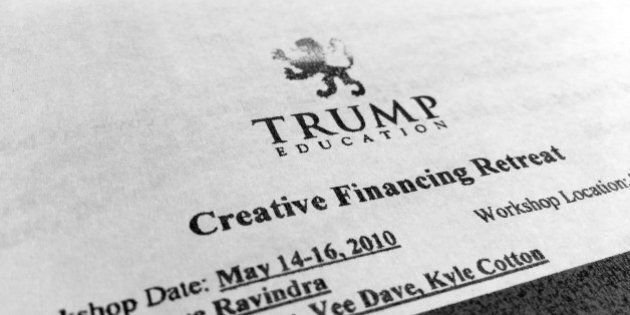A document that gave feedback from a Trump Education program that Dave Ravindra was the speaker is photographed...