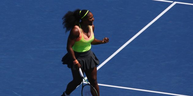 CINCINNATI, OH - AUGUST 21: Serena Williams reacts during her match against Ana Ivanovic of Serbia during...
