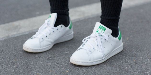 MIAMI BEACH, FL - DECEMBER 06: A student wears Adidas Stan Smith sneakers on December 6, 2014 in Miami...