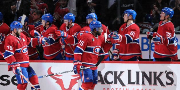 MONTREAL, QC - APRIL 17: P.K. Subban #76 of the Montreal Canadiens celebrates his second period goal...