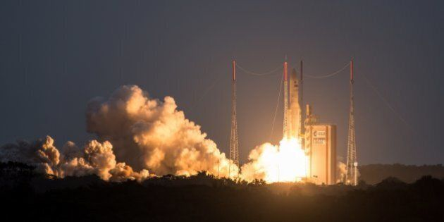 The Ariane 5 Launcher lifts off on July 15, 2015 from the Kourou Spaceport located in Kourou, French...