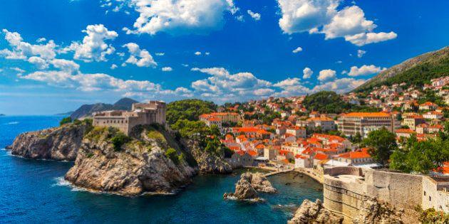 Croatia. South Dalmatia. General view of Dubrovnik - Fortresses Lovrijenac (left side) and Bokar seen...