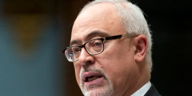 Quebec's Minister of Finance Carlos Leitao speaks as he tables his provincial budget at the National...