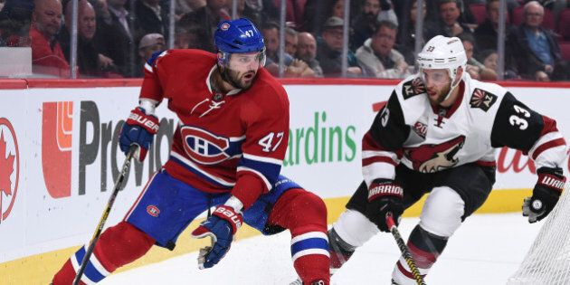 MONTREAL, QC - OCTOBER 20: Alexander Radulov #47 of the Montreal Canadiens controls the puck against Alex Goligoski #33 of the Arizona Coyotes in the NHL game at the Bell Centre on October 20, 2016 in Montreal, Quebec, Canada. (Photo by Francois Lacasse/NHLI via Getty Images)