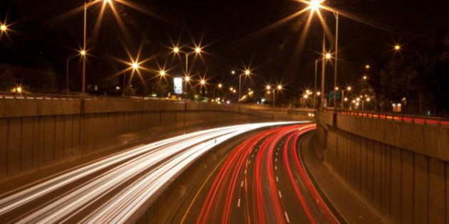Traffic trails on Montreal's Decarie Expressway (aka The