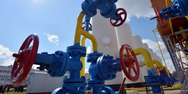 A picture taken on on April 22, 2015 shows valves of gas installation at a gas-pumping station on the...