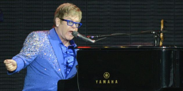 SAN FRANCISCO, CA - AUGUST 09: Elton John performs during the Outside Lands Music And Arts Festival at...