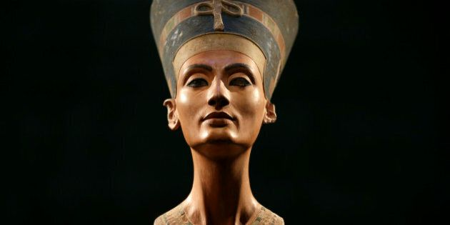 The Nefertiti bust is pictured during a press preview of the exhibition 'In The Light Of Amarna' at the...