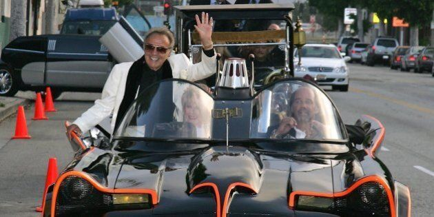 BEVERLY HILLS, CA - JUNE 17: Hollywood car creator George Barris arrives in the TV Batmobile for the...