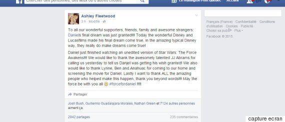 Disney exauce le souhait de Daniel Fleetwood, en phase terminale d'un cancer, qui voulait voir Star Wars...