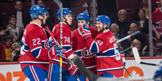 October 6, 2016: Montreal Canadiens celebrates after Montreal Canadiens center Andrew Shaw (65) score...