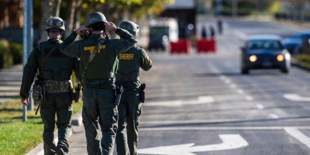 Merced County Sheriff SWAT members enter the University of California, Merced campus after a reported...