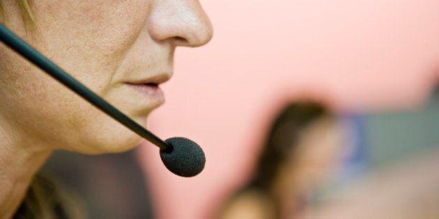 Operator using headset