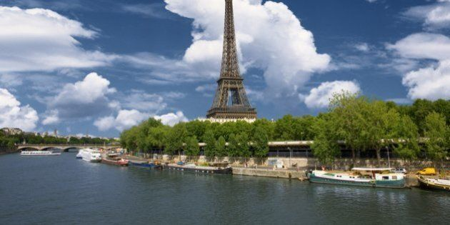 Eiffel tower and bank of river