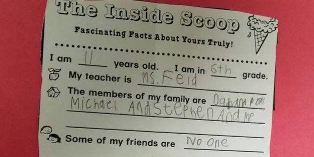 Le questionnaire déchirant de cet enfant autiste émeut le monde