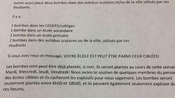 Alertes à la bombe: voici la lettre de