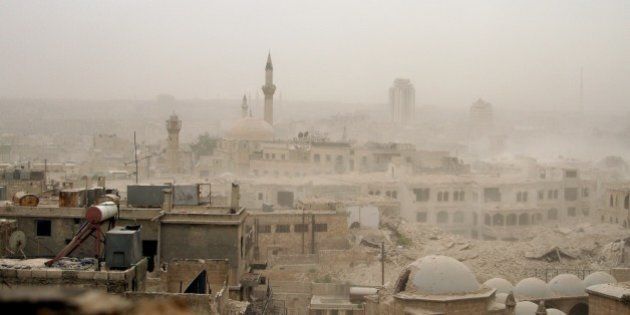 ALEPPO, SYRIA: A file photo taken by AA photojournalist Saleh Mahmoud Laila shows Aleppo after a bomb...