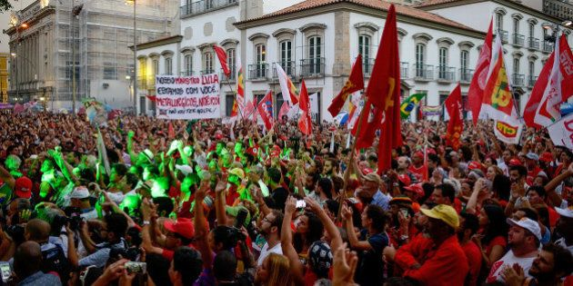 RIO DE JANEIRO, BRAZIL - MARCH 18: Brazilians show their support for current president Dilma and former...