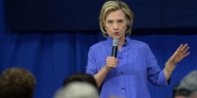 EXETER, NH - AUGUST 10: Democratic presidential candidate Hillary Clinton speaks at a town hall meeting...