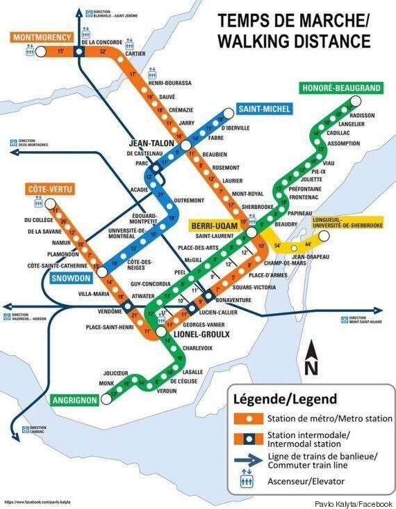 Pavlo Kalyta a créé une carte du métro de Montréal illustrant le temps de marche entre les